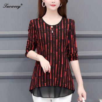 5XL Plus Size striped Women red Blouses 2019 Fashion autumn long Sleeve loose elegant Shirt Female Casual tops