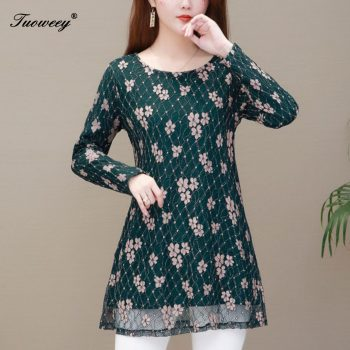 5XL Floral lace Print Blouse Women Vintage Long Sleeve o-neck Shirt Elegant Office Blouse Ladies Casual Loose Tunic Top Blusas