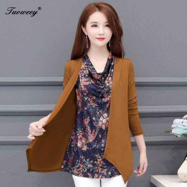 Autumn Winter 2019 Women Blouses Shirt Female Long Sleeve Casual Dot Patchwork Fake Two Pieces Women Blouses Loose Ladies Tops