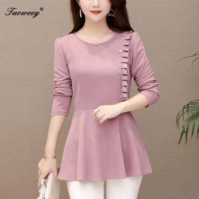2020 spring style Women Tops and Blouses Autumn O-neck Long Sleeve Shirts Casual Loose Button Down Female Elegant Ruffles Blusas