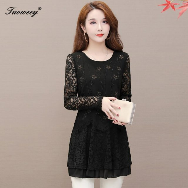 2020 autumn and winter new floral hollow out diamonds bottoming lace shirt top plus size long sleeve elegant mesh shirt top