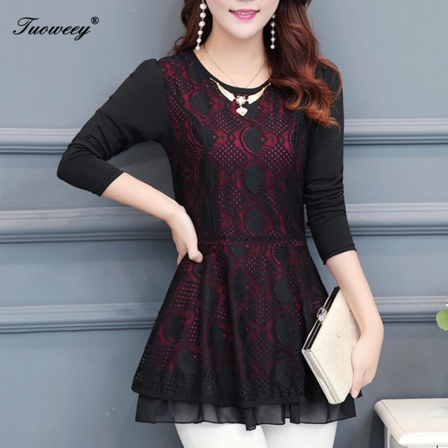 New style Women velvet lace Tops embossing spliced ear Chiffon shirt o necked long sleeve Casual Ruffles lace blouse