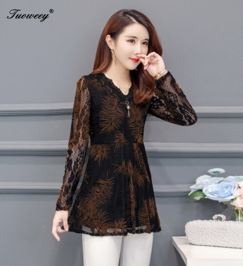2019 Autumn V-neck Lace Women Blouse Shirt Older Women long sleeve flower printed see through Autumn female Women tops