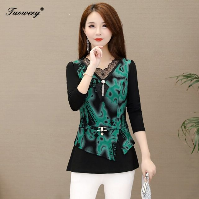 2019 Autumn style patchwork floral Women Blouse Shirt Older lace long sleeve Autumn female Women tops camisas mujer elegant