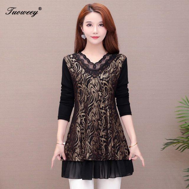 Women Tops Blouses 2020 Spring Elegant Long Sleeve lace hollow out v-Neck elegant Blouse Female Work Wear Shirts Plus Size