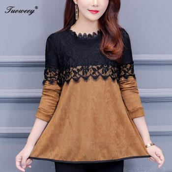 Fashion Woman o neck yellow lace patchwork Blouses 2019 Autumn New Elegant Shirt Female Long Sleeve loose sexy Shirts