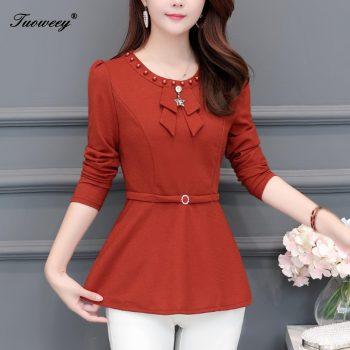 2019 New Arrival Fashion autumn long sleeve solid long Shirt Female Casual loose 5XL Plus Size elegant korea Blouse