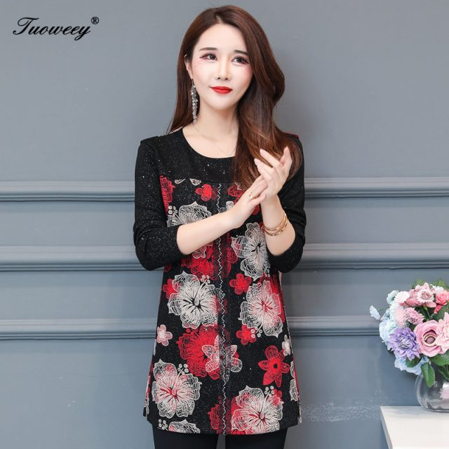 autumn Chiffon Blouse Shirts Casual floral Loose elegant O neck long Sleeve Floral Print Tops blusas blouse 2019 women