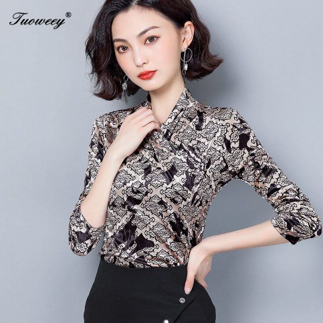 2020 spring Women Blouse Ladies Printing career Long Sleeve V-Neck Sexy Tops Blouses Female Fashion Shirts tee Top Clothing