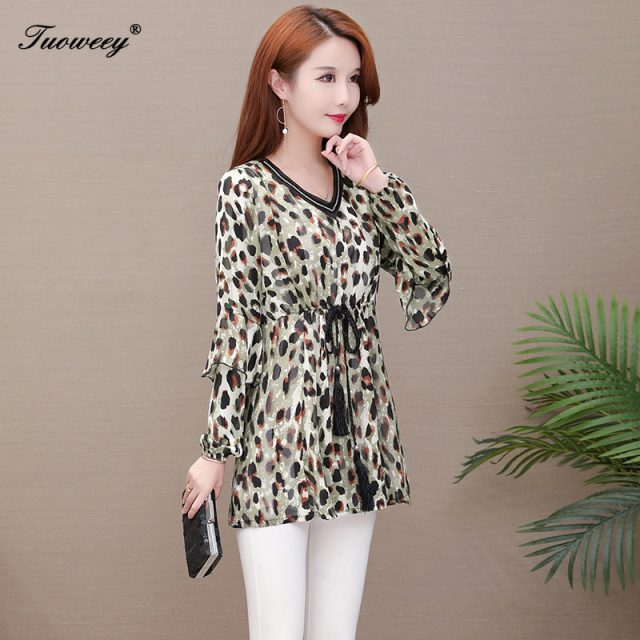 5XL plus size leopard spring style Shirt 2020 New Sweet work wear Vintage blouses Soft loose elegant long Sleeve Shirt Top