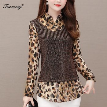 Leopard fashion clothing 4XL Plus Size Women Fashion autumn long Sleeve loose mother Long Shirt Female Casual Elegant tops