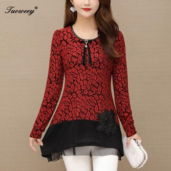 2020 Basic Shirts Blouses Hot Sales Women Fashion Patchwork red Mesh Sheer Sequined Top Button floral Elegant Shirt