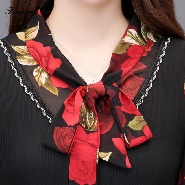 5XL Plus Size Women Blouses 2019 Fashion autumn bow collar 3/4 Sleeve FLORAL Shirt Female Casual tops blusas femininas elegante