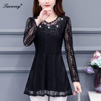 4XL Women clothing beading hollow out spring lace Shirt Tops see through basic female Elegant long-sleeve Lace Blouses shirts
