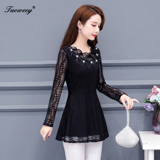 Women clothing solid hollow out Autumn lace Shirt Tops see through basic female Elegant long-sleeve Lace Blouses shirts