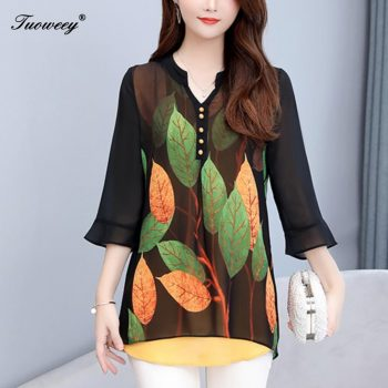 2019 Summer autumn style Women Chiffon Blouse Shirts Casual button Loose elegant v neck half Sleeve Floral Print Tops blusas