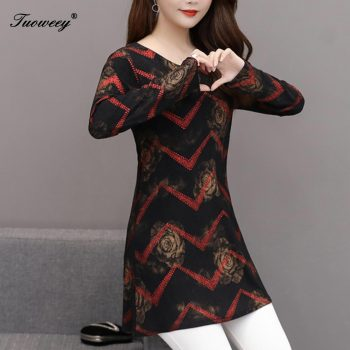 5XL plus size red Women vintage long Blouses 2019 Fashion autumn long Sleeve Shirt Female striped tops camisas mujer elegant