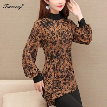 M-5XL Women spring irregular Blouses shirt Chiffon Women Tops 2020 New Fashion Women leopard Blouses Plus Size Blouses