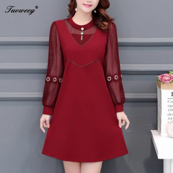 2019 New Arrival Fashion autumn long sleeve sexy patchwork casual dress Female Casual loose Plus Size elegant red dress