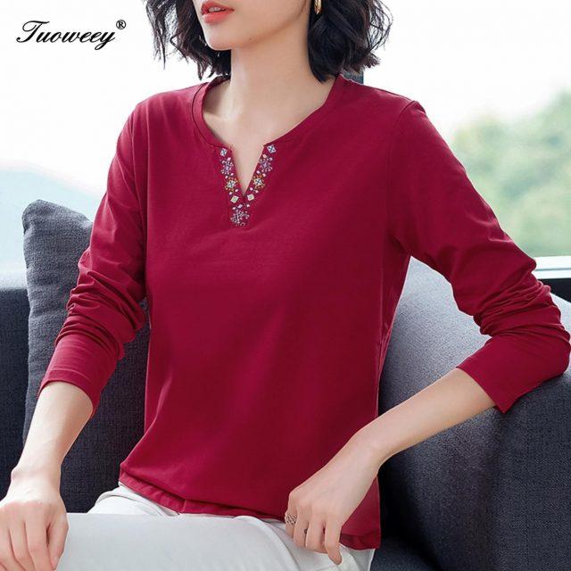 Fall spring Women Tunic t-shirts Harajuku Black Red Green Long Sleeve V-neck Patchwork Shirts Plus Size Ladies Tops Blusa