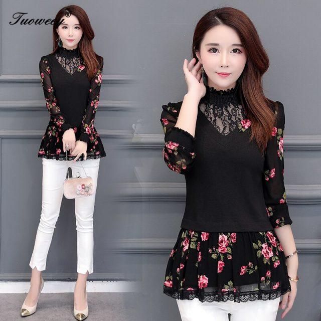2019 Autumn Hollow out Lace Women Blouse Shirt Older Women Half sleeve flower printed see through Autumn female Women tops