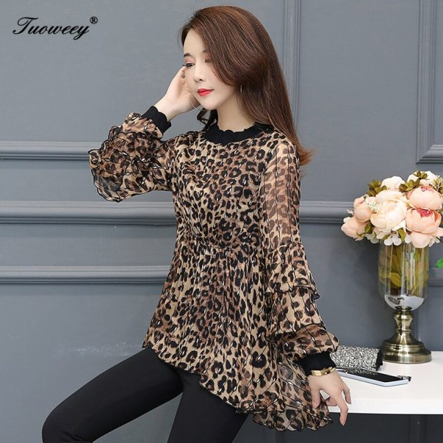 New Arrival Fashion autumn long sleeve ruffle leopard long Shirt Female loose Plus Size elegant plus size 6XL Blouse