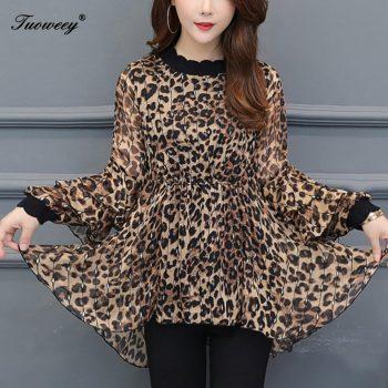 New Arrival Fashion autumn long sleeve ruffle leopard long Shirt Female loose Plus Size elegant plus size 6XL Blouse