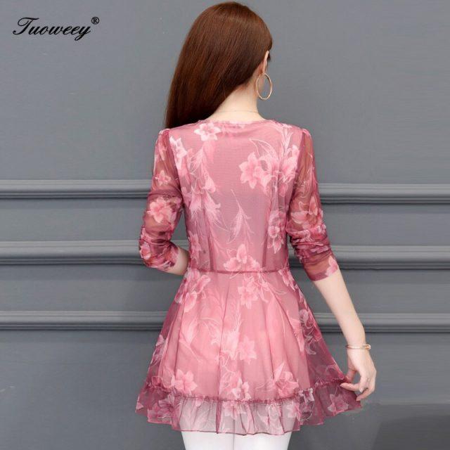 5XL Plus Size floral Women Blouses 2019 Fashion autumn long Sleeve v-neck Long Shirt Female Casual tops