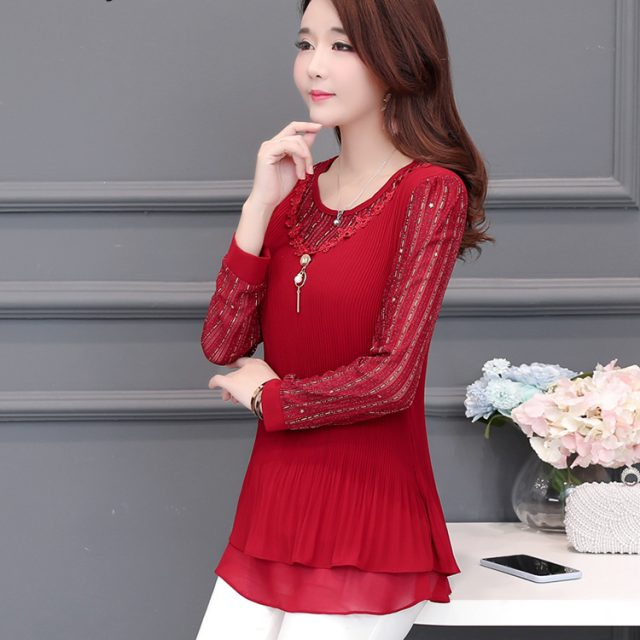 5XL Plus Size floral Women flower lace Blouses 2019 Fashion autumn short Sleeve loose patchwork Shirt Female Casual tops
