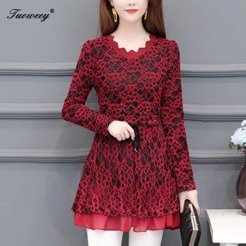 blusas mujer de moda 2019 floral print lace velvet warm winter blouse  womens tops and blouses blusas mujer de moda 20189