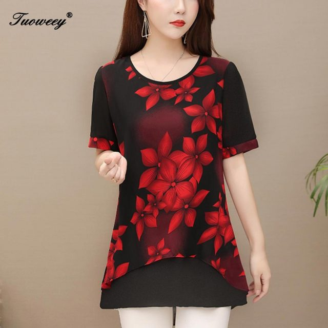 5XL Autumn Chiffon Blouse Shirts Casual floral Loose elegant O neck short Sleeve Floral Print Tops blusas blouse 2019 women