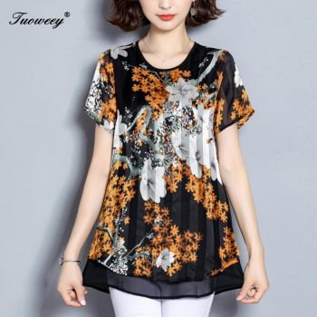 5XL Autumn Chiffon Blouse Shirts Casual floral Loose elegant O neck short Sleeve Floral Print Tops blusas blouse 2019 women