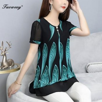 Large Size Luxury Women Dinner Party Blouse Top Loose O-Neck short Sleeve Floral elegant button 4XL ladies Blouse Long Tunic