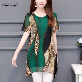 Women clothing New 2019 spring fashion loose plus size women's long shirts short sleeve leopard blouse shirts chiffon blusas