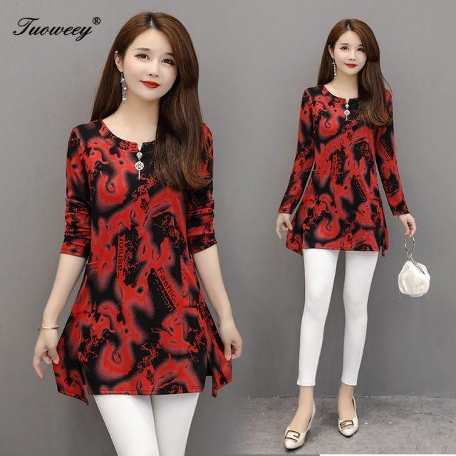 5XL plus size green flower Women vintage Blouses 2019 Fashion autumn long Sleeve Shirt Female 0 neck tops camisas mujer elegant