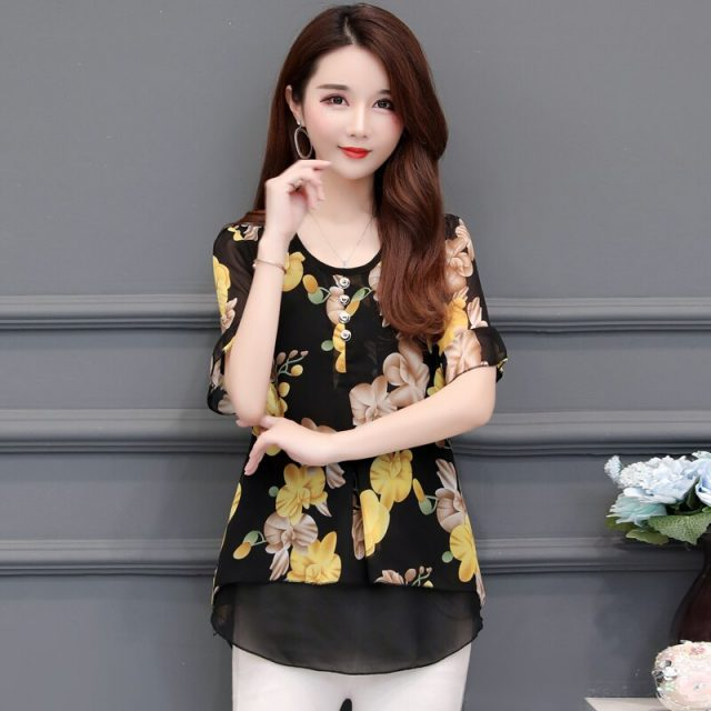 blusas mujer de moda 2019 floral print chiffon blouse women tops camisas mujer chemisier femme womens tops and blouses