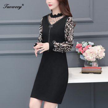 2019 New Arrival Fashion autumn leopard long sleeve hollow out slim dress Female Casual Plus Size elegant patchwork dress