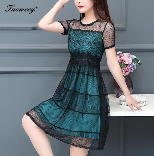2019 Plus size 4XL New Women lace patchwork short Sleeve A-line knee length Dress summer O-neck Female Casual hollow out Dresses