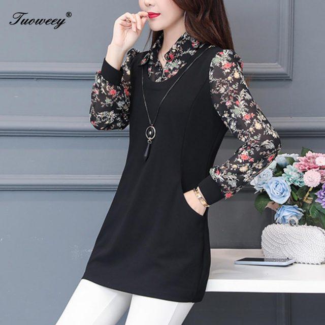 2019 autumn Women patchwork Blouse Shirts Casual floral Loose elegant long Sleeve Floral Print blusas plus size tops