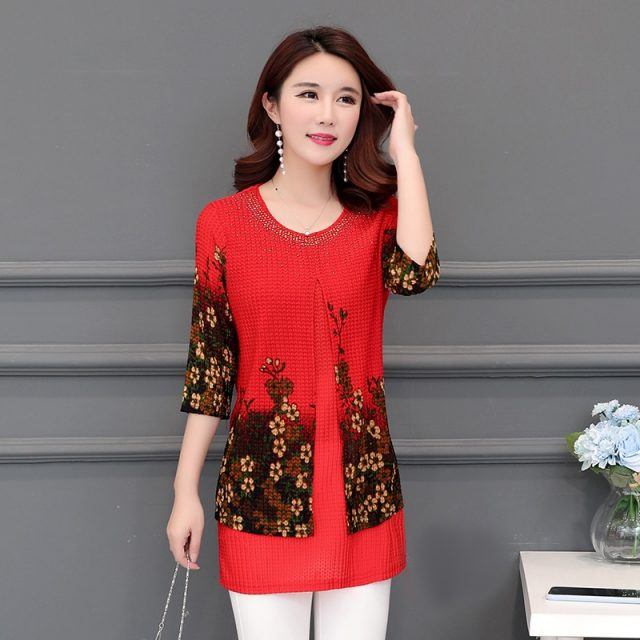 2019 New Arrival Fashion spring Three Quarter loose floral long Shirt Female Casual Color Plus Size elegant Printed Blouse 5XL