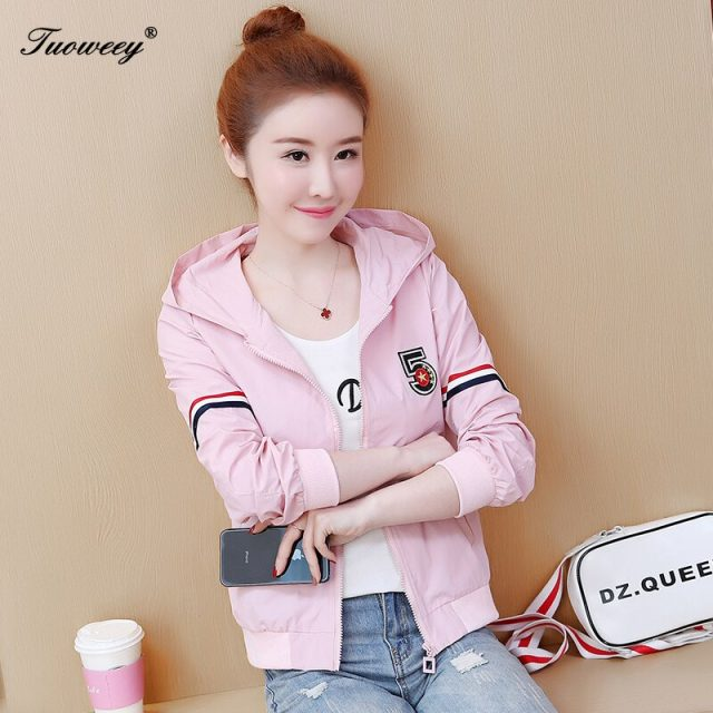 Spring style letter Cute Hooded Windbreaker Jacket For Women pink Jacket Hoodie Coats Female Outdoor Clothing