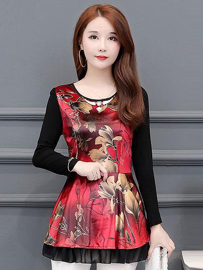 5XL Plus Size Women Blouses 2019 Fashion autumn o-neck long Sleeve FLORAL Shirt Female Casual tops blusas femininas elegante
