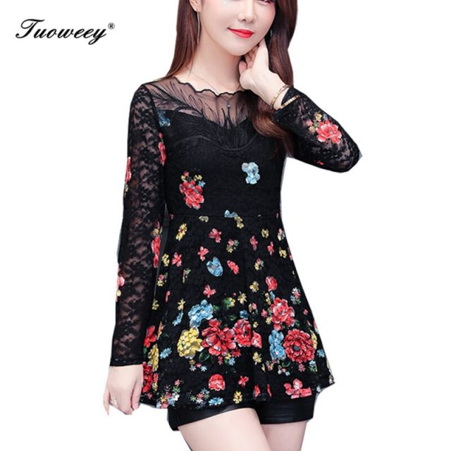 2019 New Arrival Fashion spring long sleeve Slim floral long Shirt Female Casual Slim Color Plus Size elegant Printed Blouse