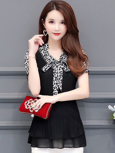 Women's Tunics Plus Size Chiffon Leopard Blouse Shirt Ruffle Womens Tops and Blouses Blusas Mujer De Moda 2019 short sleeve tops