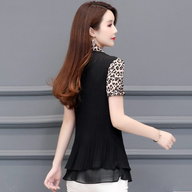 Women's Tunics Plus Size Chiffon Leopard Blouse Shirt Ruffle Womens Tops and Blouses Blusas Mujer De Moda 2019 short sleeve tops
