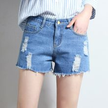 2019 Euro Style Women Denim Shorts Vintage mid Waist hole Jeans Shorts Street Wear Sexy Wide Leg Shorts For Summer