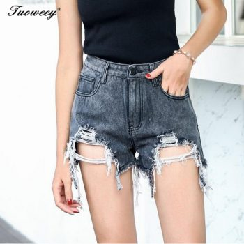 Hole Ripped Summer Shorts Women All-match Women's Shorts Tassel Solid Womens Short Pants Fashion Mid Waist Female Ladies Pants