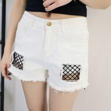 2019 Euro Style Women lace hole Denim Shorts Vintage mid Waist Tassel Jeans Shorts Street Wear Sexy Wide Leg Shorts For Summer