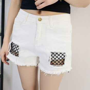 2019 Euro Style Women lace hole Denim Shorts Vintage mid Waist Tassel Jeans Shorts Street Wear Sexy Wide Leg Shorts For Summer