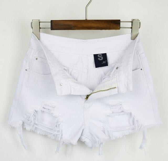 Fashion cotton Hot Denim Shorts women Sexy hole White Frayed Edges high Waist short jeans 2018 casual pockets Ripped shorts